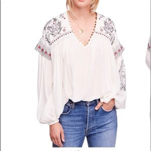 Free People Rock It Tonight Embroidered Top Large